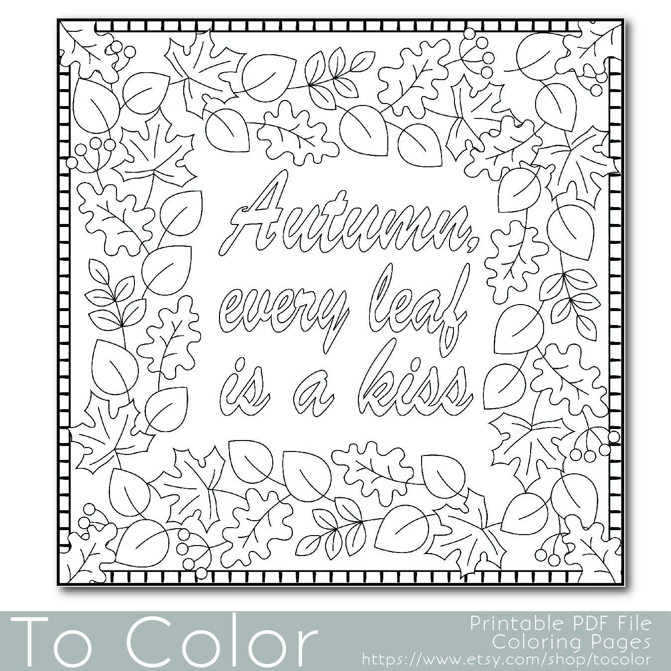 Autumn Leaves Coloring Page For Adults PDF JPG Instant Download Book Sheet Grown Ups Digital Stamp By ToColor On Etsy