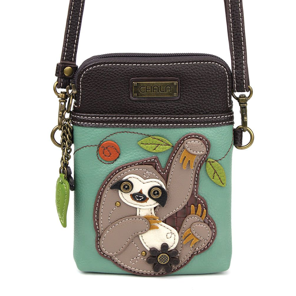 WAY.MAY Pattern with Cute Sloth Leather Tote Bags Zippered Handbags Shoulder Bag