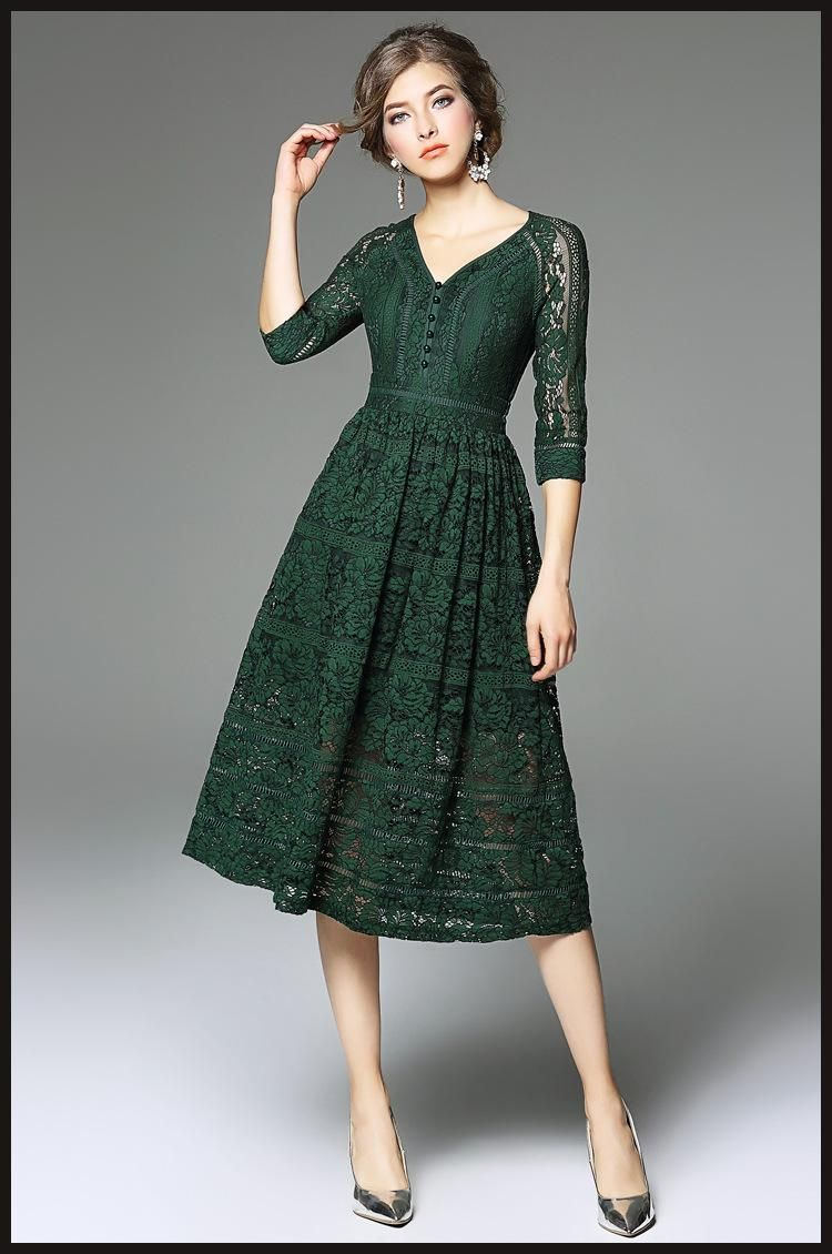 Dark Green Lace Dress 3/4 Sleeves V-neck A-line 2017 Spring Long ...