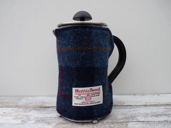 Tartan Cafetiere Cover Coffee Pot Cosy Harris Tweed French Press Blanket Handmade Scottish Gift Plaid Navy Blue New Home