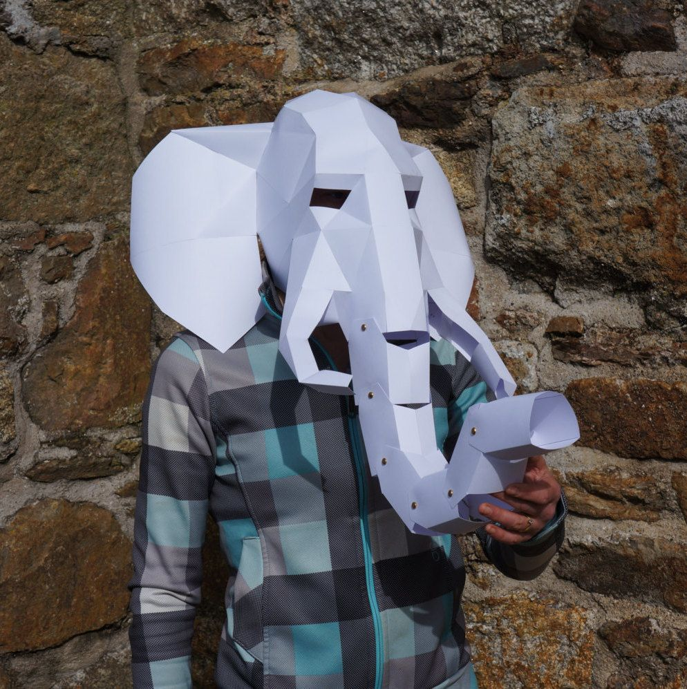 Elephant Mask - make your own 3D Low-Poly Mask with PDF download ...