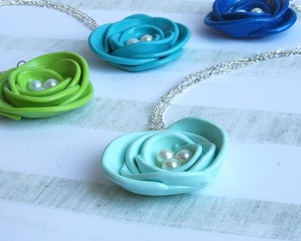 Flower Bridesmaid Necklace Pale Blue Pearl Rose by Mirilovelove
