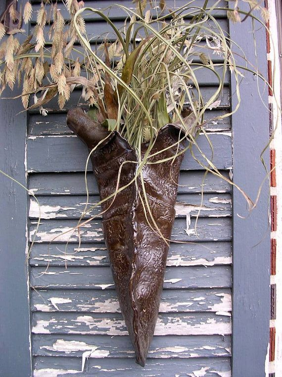 Hanging flower pocket ceramic wall vase sconce | Wall vase ... on Pocket Wall Sconce For Flowers id=42475