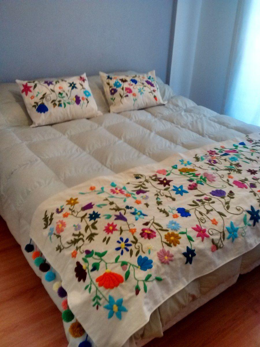 Pie de cama y almohadones en bordado mexicano embroidery - Pie de cama ...