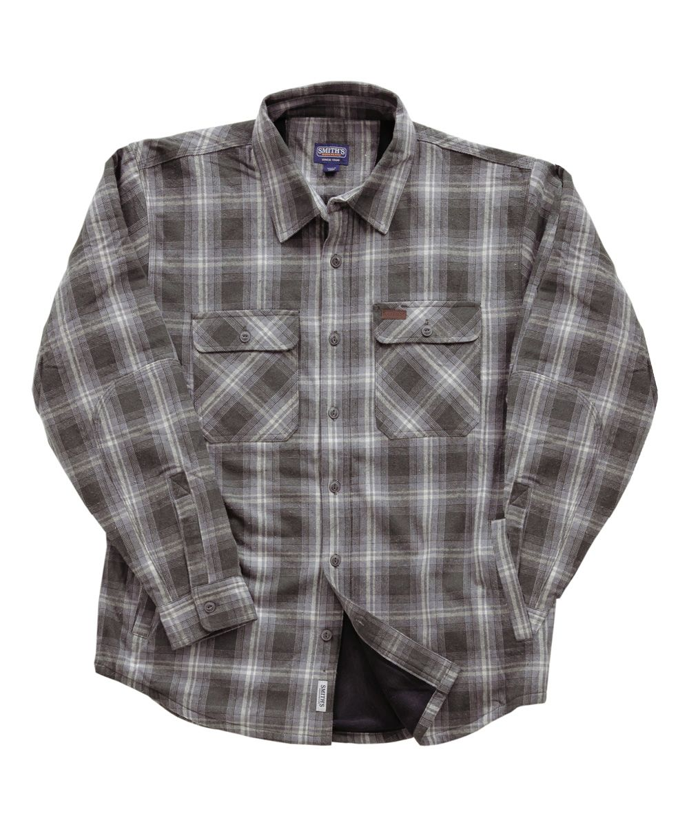 Flannel shirt black and grey  Smithus Workwear Gray Plaid FleeceLined Flannel Jacket  Flannel