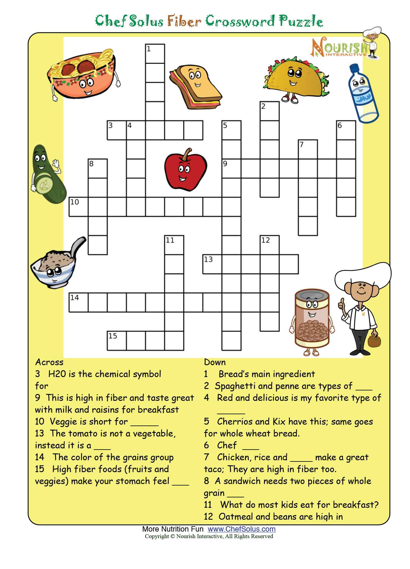 Fiber Puzzle Please Make Sure To Print The Answer Key As