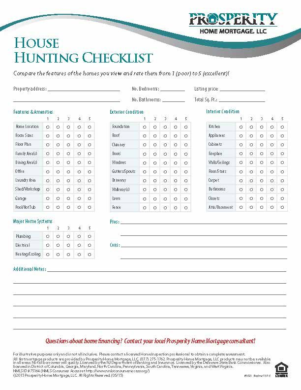 House Hunting Checklist - Prosperity Home Mortgage, LLC My future - new apartment checklist