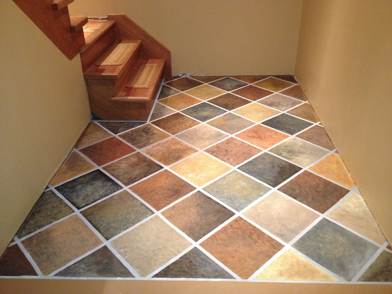 Paint basement concrete floor google search concrete floors stonehaven simple pleasures hand painted faux slate tile floor maybe not tiles but like they thought of painting the basement floor to a faux finish dailygadgetfo Image collections