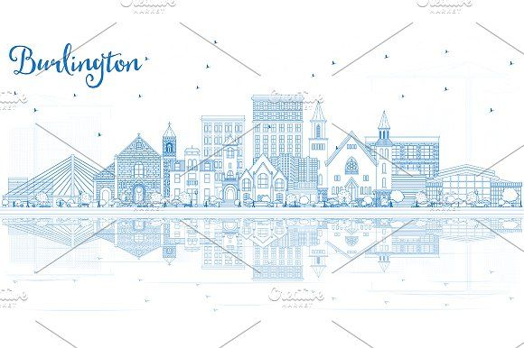 Outline #Burlington #Iowa #Skyline by Igor Sorokin on