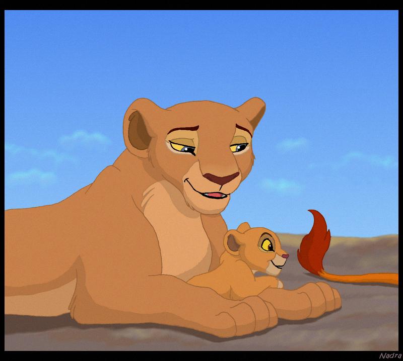 Nala and little Kiara (plus Simba's tail). | My Lion King ...