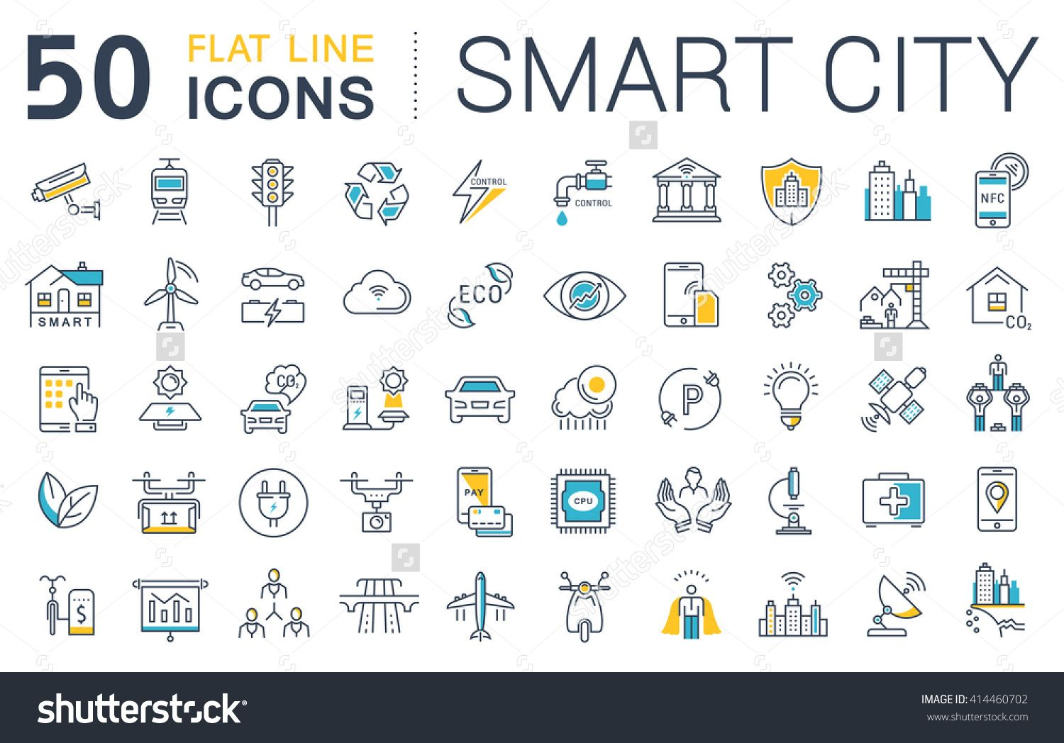 Set Vector Line Icons In Flat Design Smart City And Technology With Elements For Mobile Concepts And Web Apps Collection Smart City Logo Infographic Line Icon