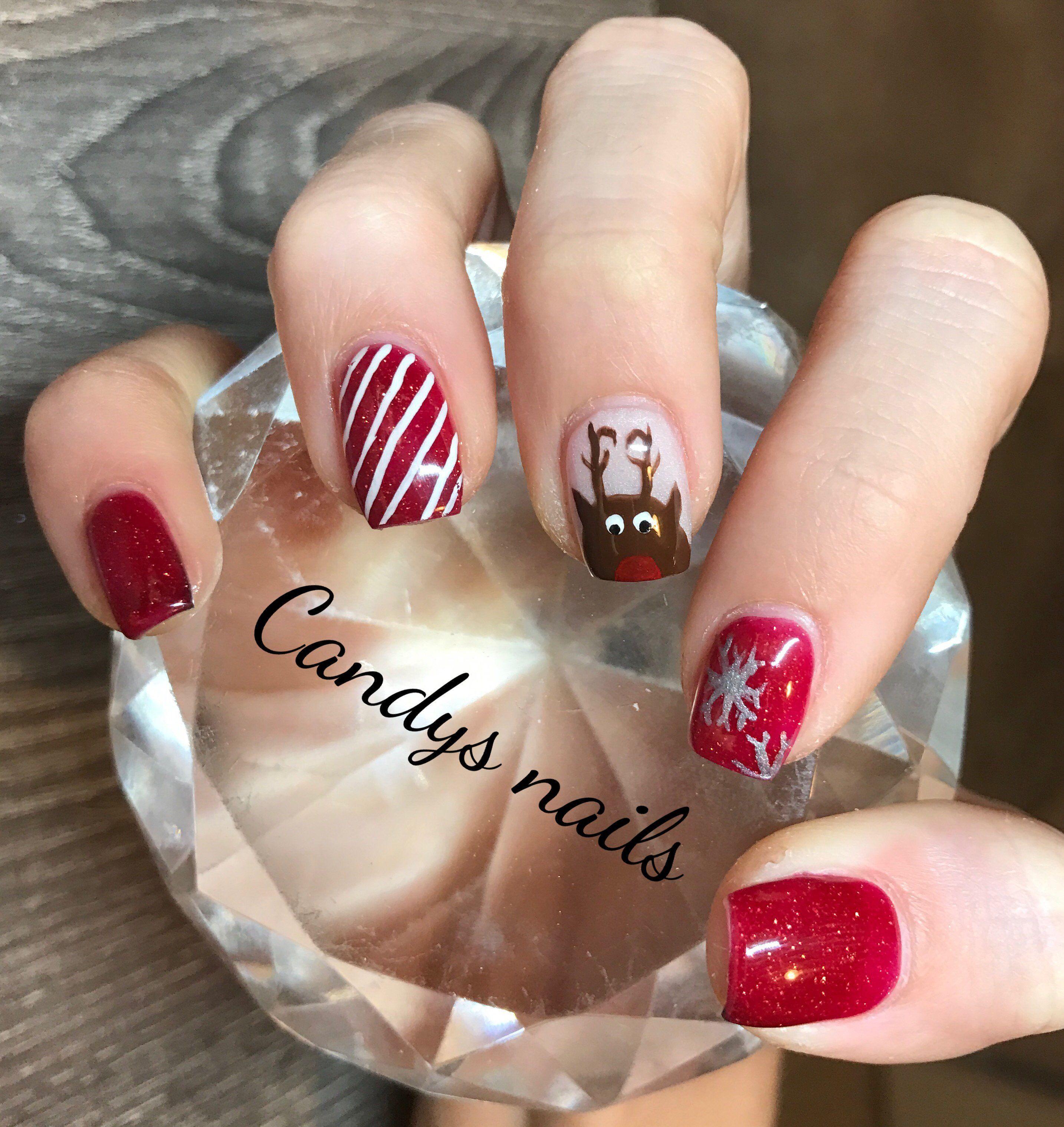 Christmas Design Candy Cane Stripessnowflakesa Reindeer Acrylic