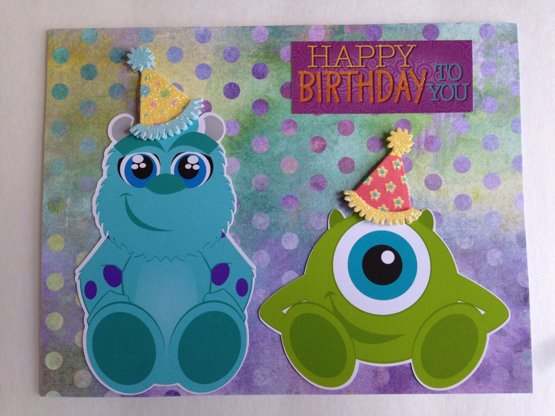 Handmade Birthday Card Quot Happy Birthday From Monster Inc Quot Handmade Birthday Cards Birthday Cards Monster Inc Party