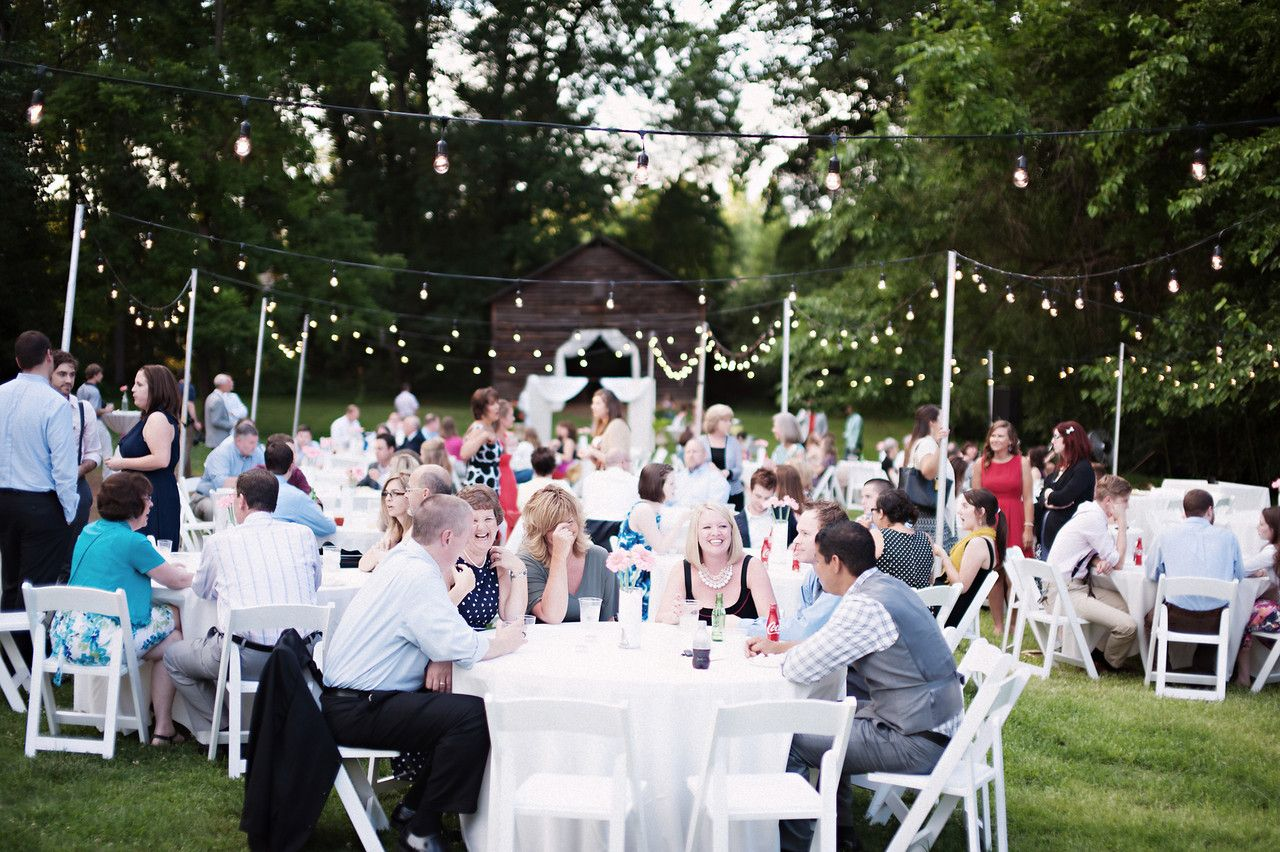 Wedding decorations trees with lights october 2018 Outdoor Summer Wedding Reception Tables String Lights  Details