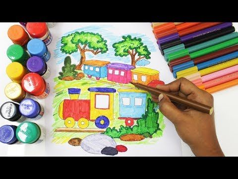 Toy Train Coloring Pages And Drawing Colouring Videos With Colored Markers Art For Kids Youtube Train Coloring Pages Art For Kids Marker Art