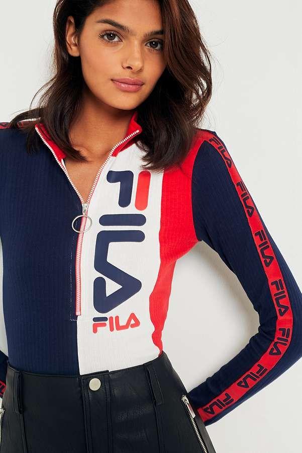 8df9d0b4b375a FILA Logo Half Zip Funnel Neck Shirt   ck   Fashion, Sport fashion ...