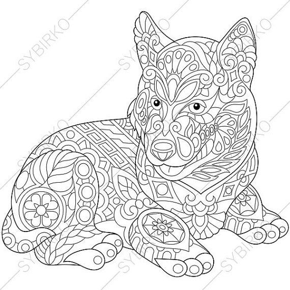 Husky Dog Adult Coloring Page Zentangle By ColoringPageExpress