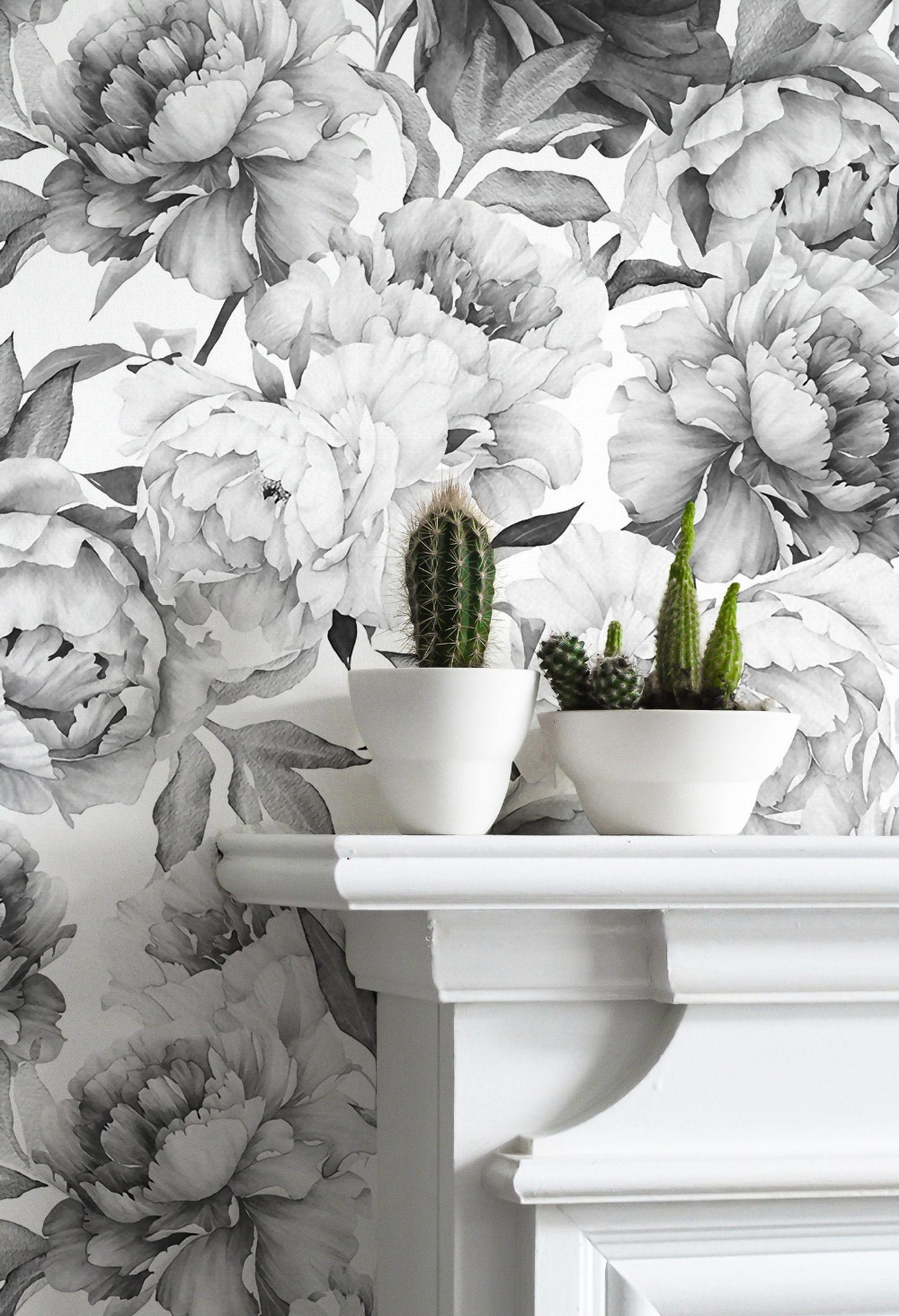 Giant Black And White Peony Removable Wallpaper Mural Etsy In 2020 Floral Wallpaper Floral Print Wallpaper Mural Wallpaper