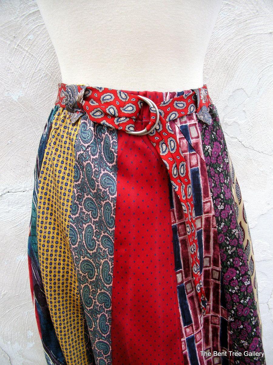 Silk Skirt Mid Length of 100% Silk Neckties Handmade by The Bent Tree Gallery. $185.00, via Etsy.