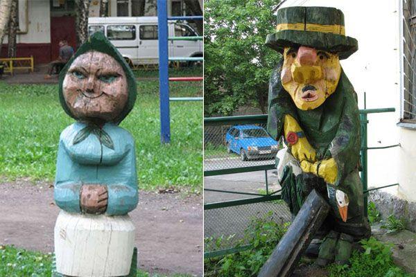 Пугающие скульптуры на детских площадках. (11 фото)