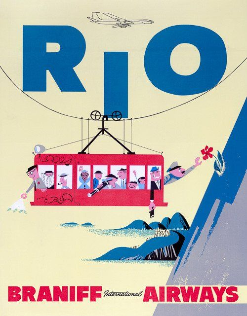 Tourists ride a cable car on Rio's Sugar Loaf Mountain in this travel poster, c 1950s.