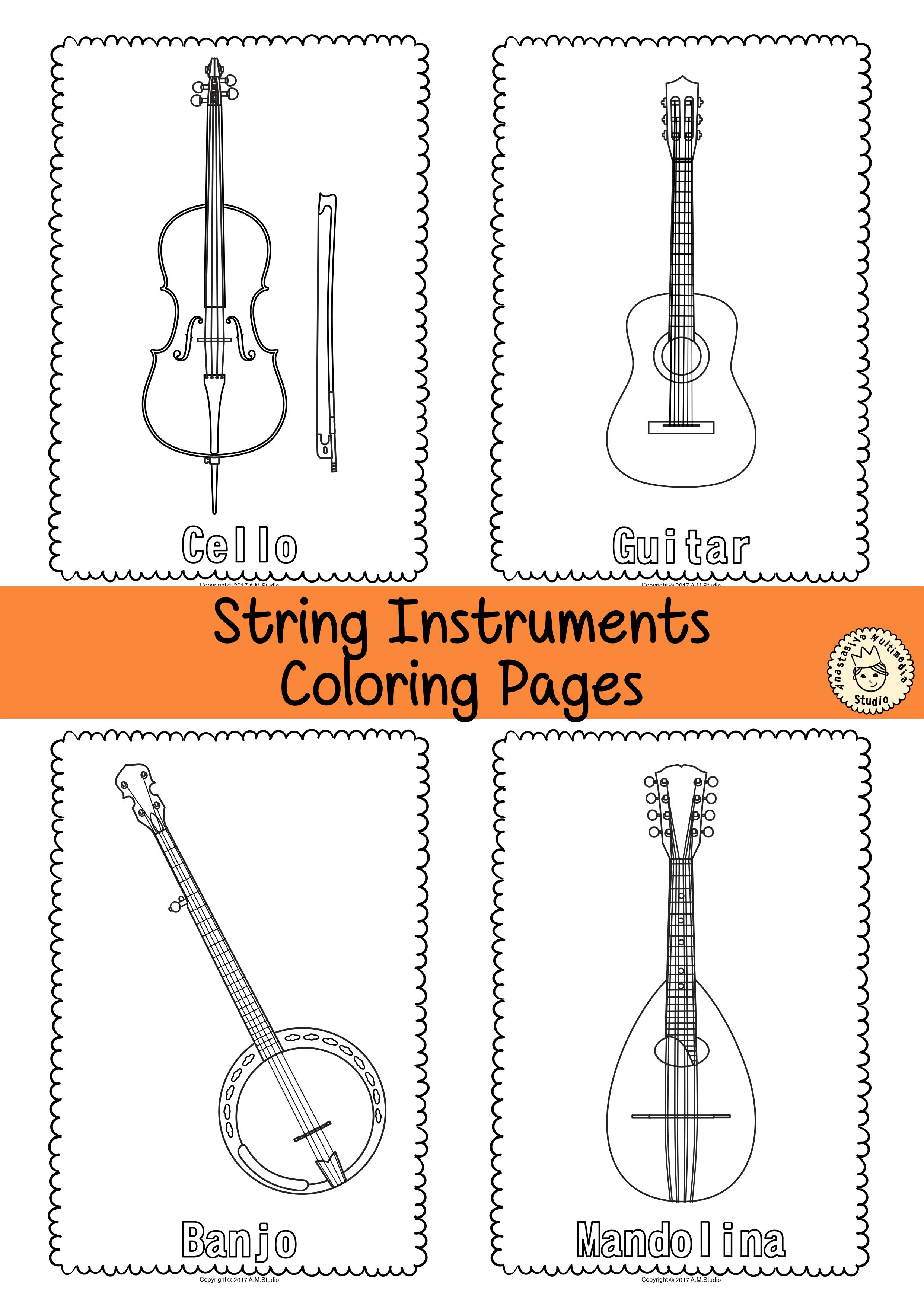Musical Instruments Coloring Pages Anastasiya Multimedia Studio Musical Instruments Musicals Drum Lessons
