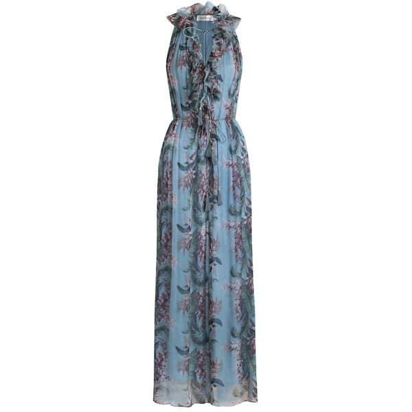 ZIMMERMANN Winsome Ruffle Jumpsuit ($900) ❤ liked on Polyvore featuring jumpsuits, blue necktie, tie belt, floral print jumpsuit, blue jump suit and neck-tie