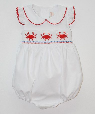 57d99ab7f Love this White Crabs Smocked Bubble Romper - Infant on #zulily! # zulilyfinds