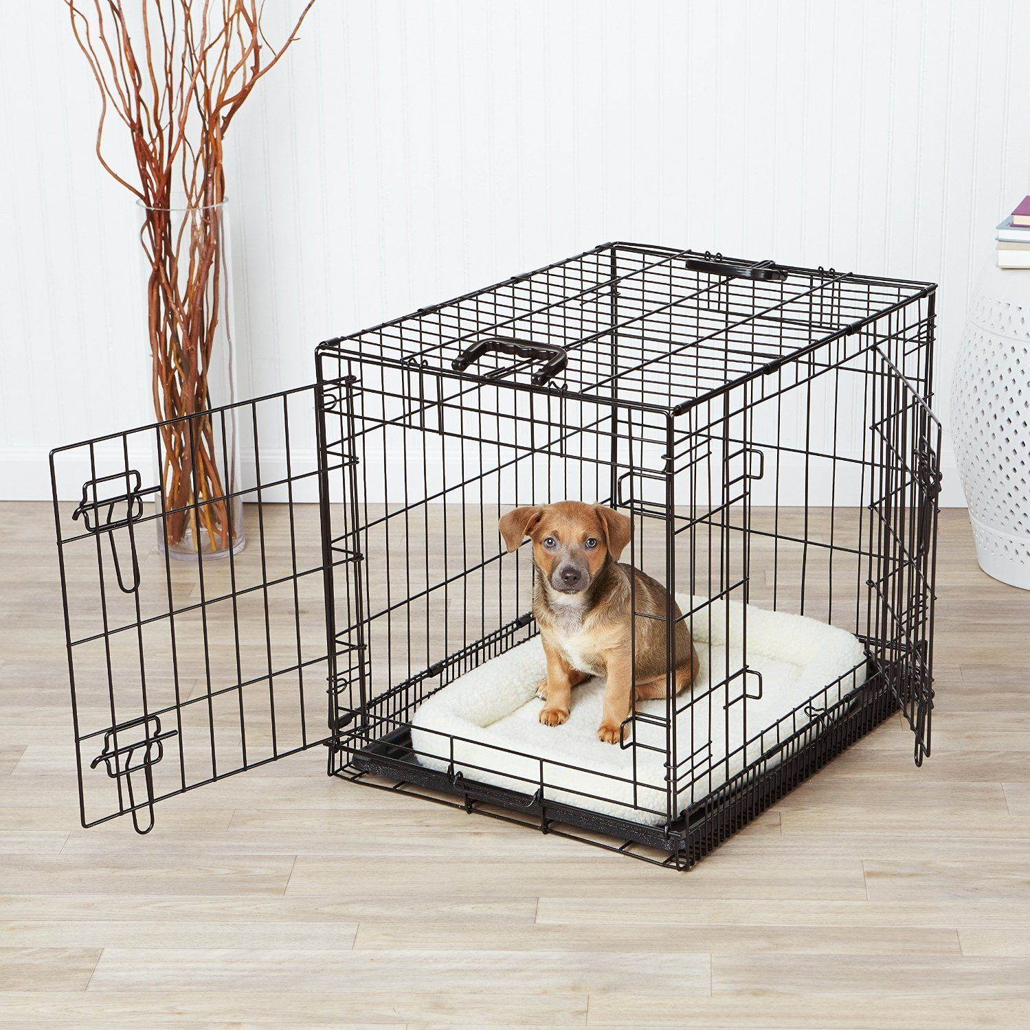 Amazonbasics Doubledoor Dog Crate And Padded Bolster Bed Small You Can Find More Details By Visiting The Image Link It Dog Cages Dog Crate Large Dog Crate