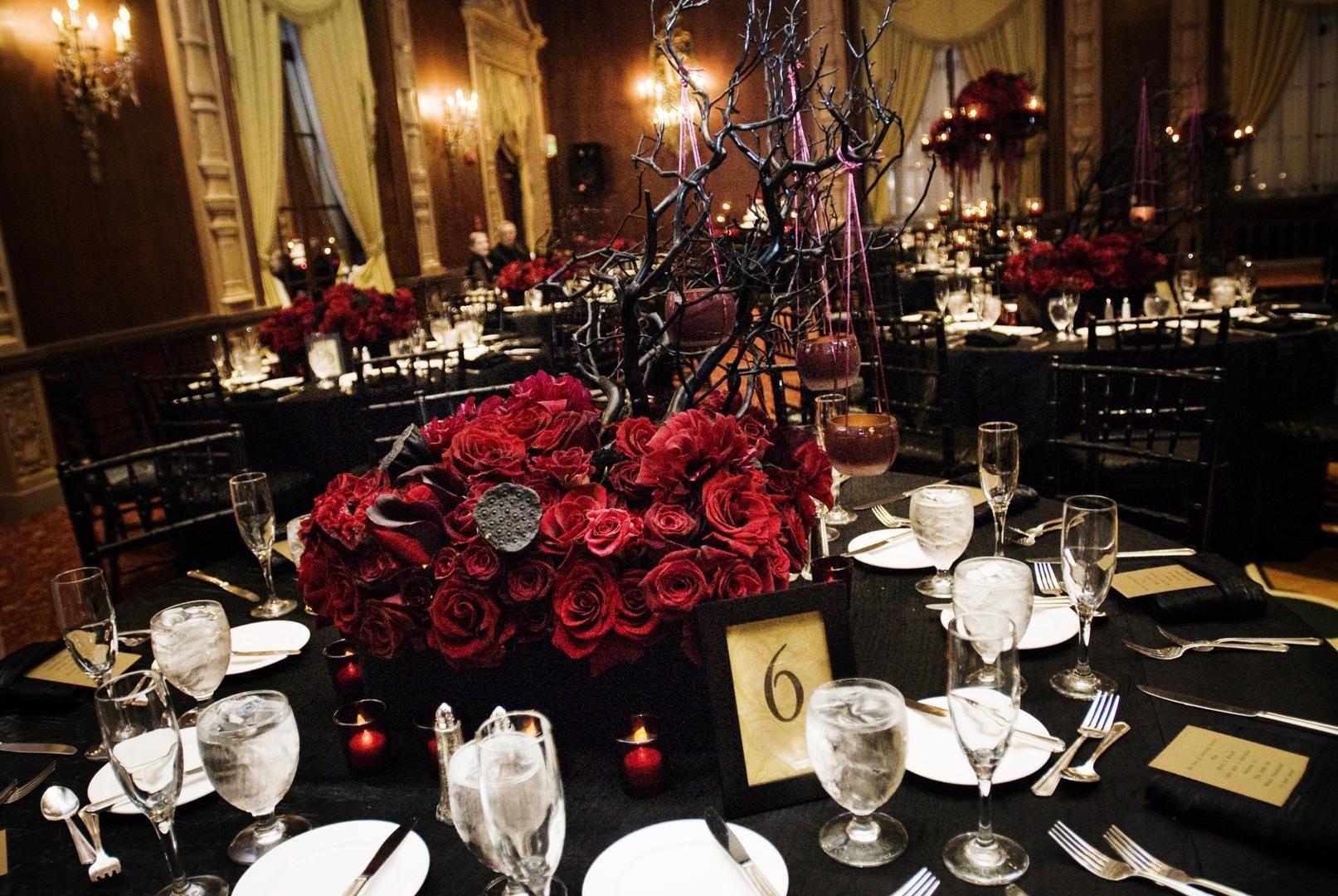 Wedding dinner decoration ideas  Atreyuus Brandon Sallerus Rock unu Roll Wedding in Los Angeles
