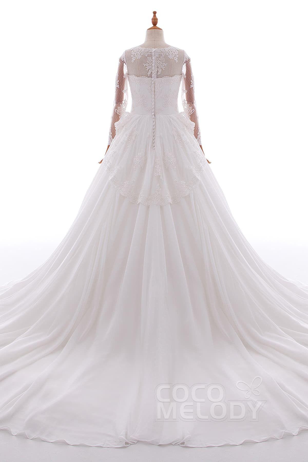 Aline chapel train tulle and chiffon wedding dress ld wedding