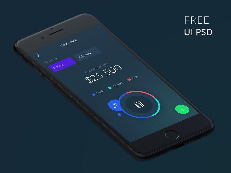 Free Wallet App UI PSD | Free Mobile App UI PSD | App mockup free