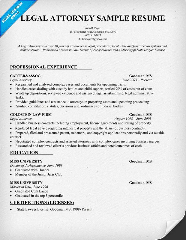 Legal Attorney Resume Sample (resumecompanion) Resume Samples