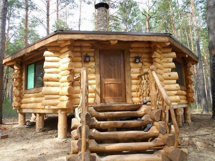 Log cabin on stilts Tiny house cabin, Octagon house