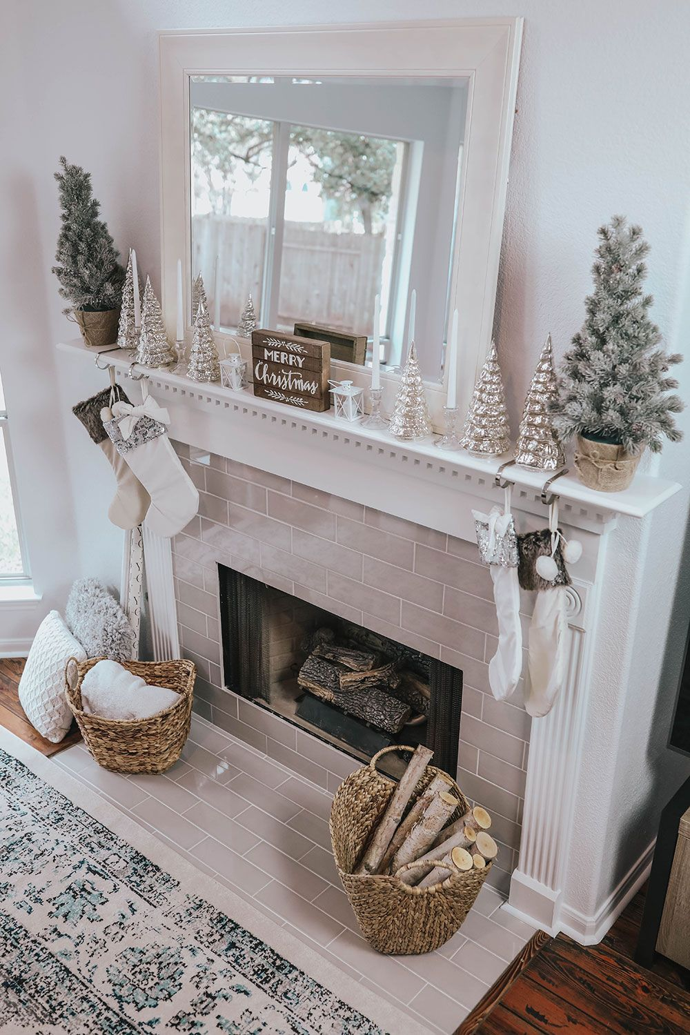 My Christmas Mantle Decor & New Fireplace CHRISTMAS
