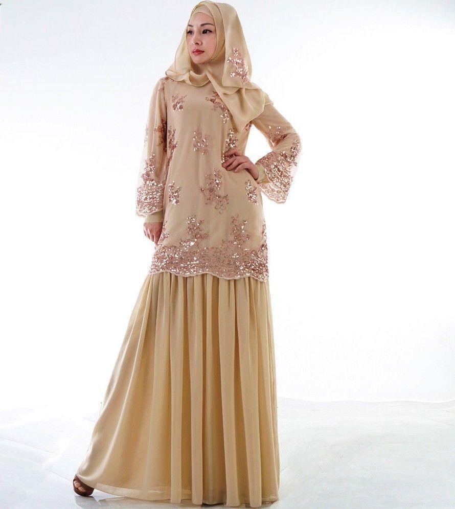 Details About Elegant Women Golden Lace Baju Kurung Malaysia Peplum