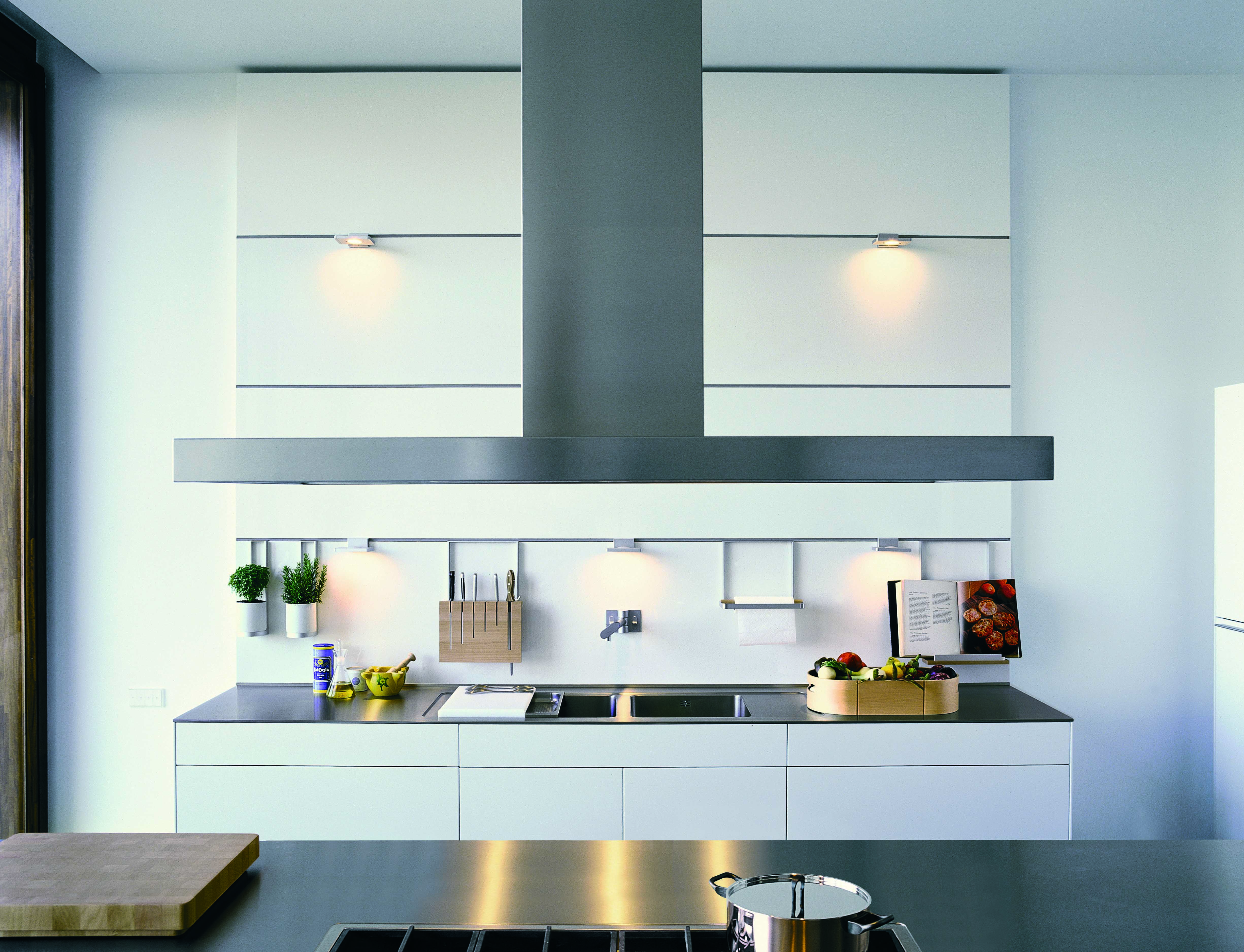 bulthaup b3 in white laminate with wall paneling designed to offer ...