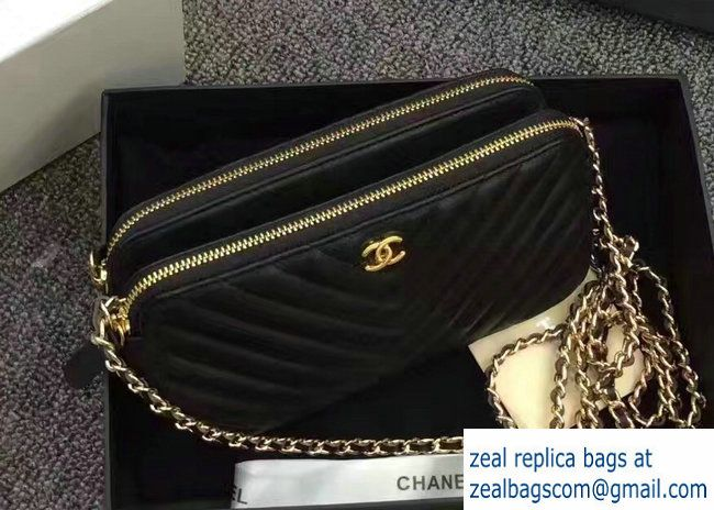 4322727712ec02 Chanel Chevron Double Zipped Small Clutch Chain Bag A82527 Black/Gold 2017