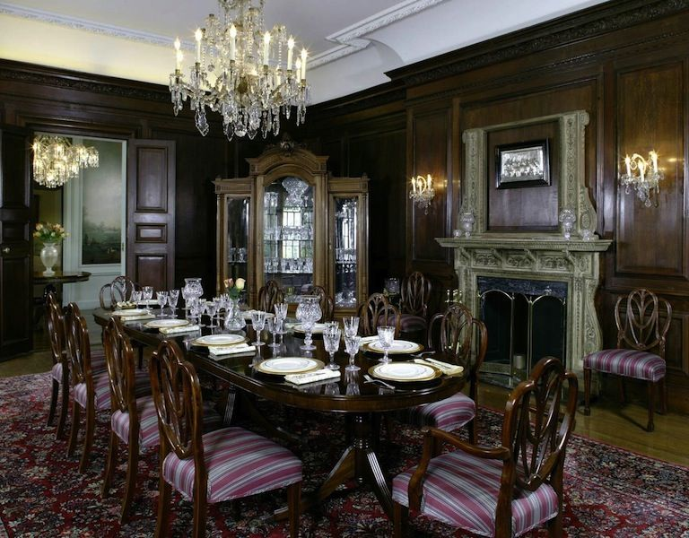 Victorian Dining Rooms With Luxury Chandelier And Wonderful Wood Room Sets Ideas Classic Fireplaces Design