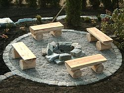 Feuerstelle mit Bänken | Garten | Garden, Backyard ...