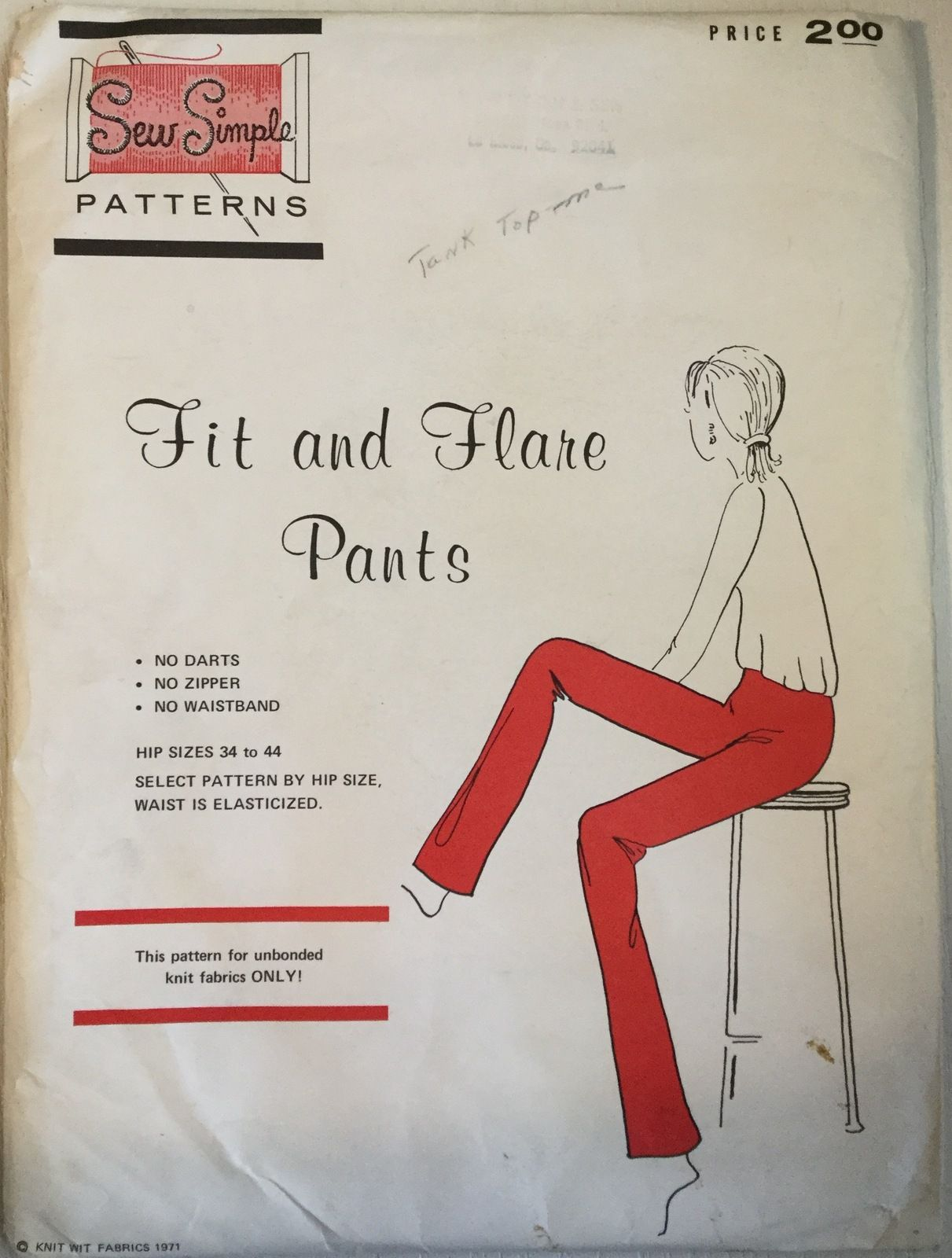 Sew simple patterns fit and flare pants for knits only hips 34 44 sew simple patterns fit and flare pants for knits only hips 34 44 uncut jeuxipadfo Images