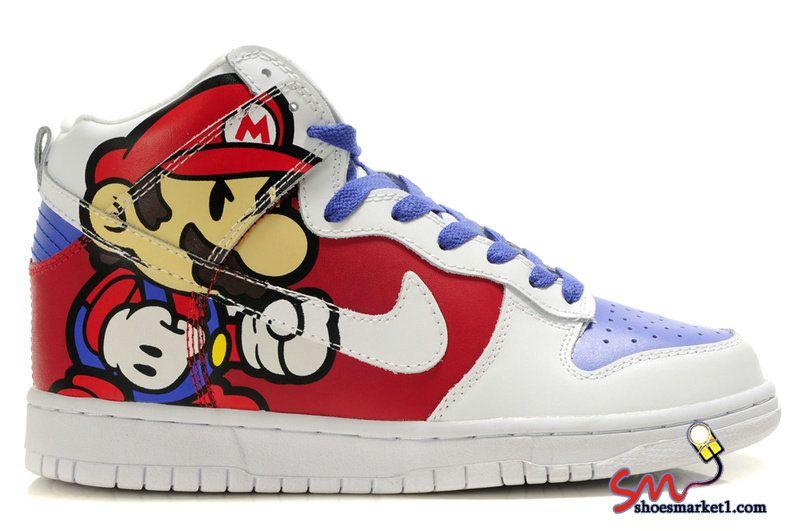 super mario bros nike dunks high tops sneakers