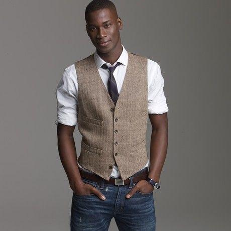 Men's Brown Linen Herringbone Suit Vest | Herringbone suit, L'wren ...