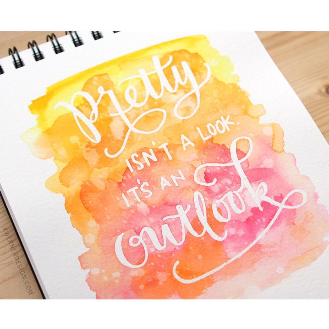 Masked Lettering With Watercolor Background Watercolor