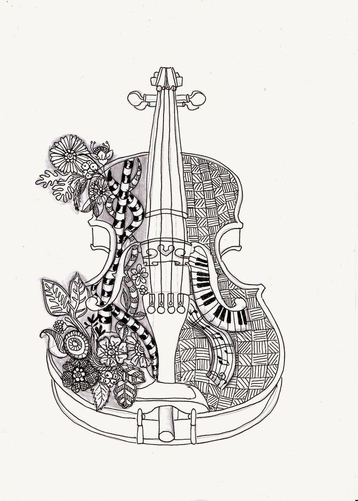 el violin mas hermoso | Adult coloring book pages, Cool ...
