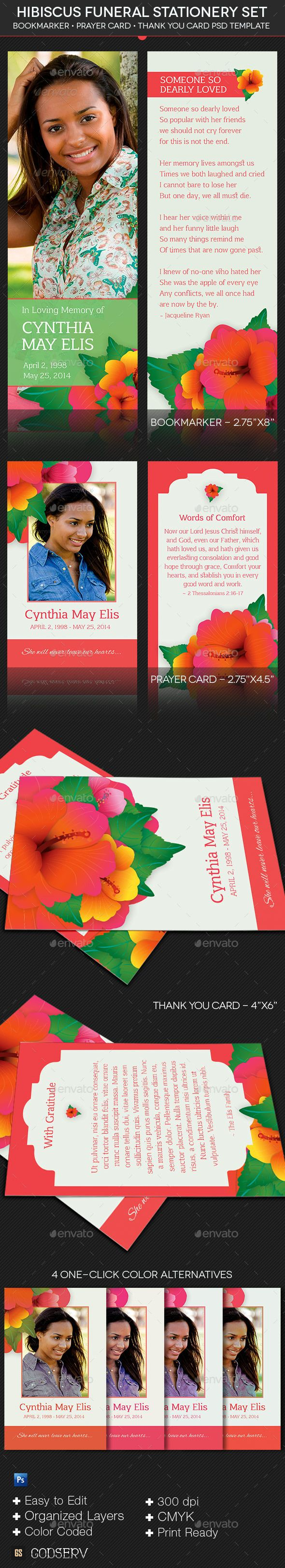 hibiscus funeral stationery template set stationery templates