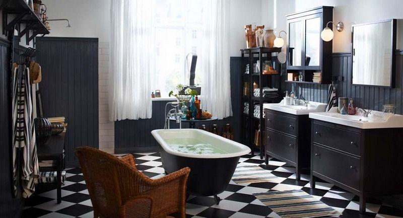 meuble salle de bain noir retro