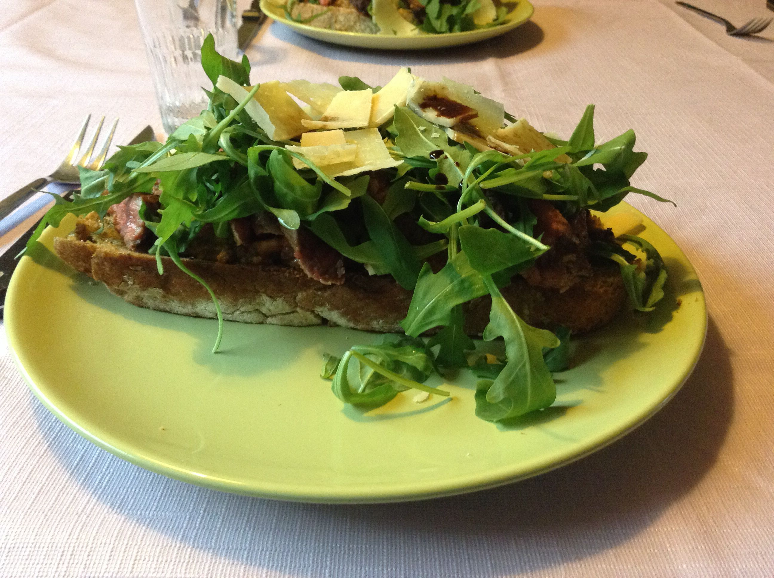 My favourite toast with steak ,tomato ,Parmesan cheese and salad