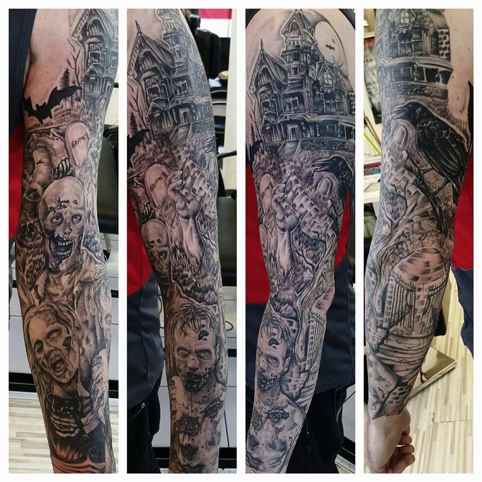Walker Zombie Sleeve Tattoo Zombie Tattoos Halloween Tattoos Sleeve Tattoos