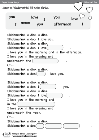 Skidamarink Fill In The Blanks Worksheet From Super Simple Learning